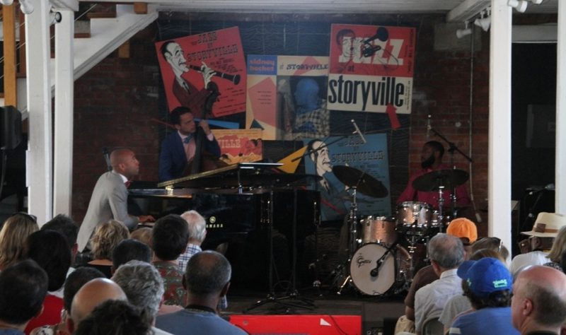 Pianist Aaron Diehl's trio at the 2015 Newport Jazz Festival's Storyville club stage
