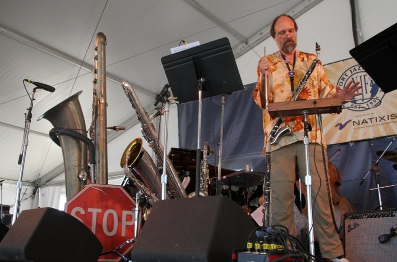 Scott Robinson's instrumental arsenal for his Doctette performance at the 2015 Newport Jazz Festival
