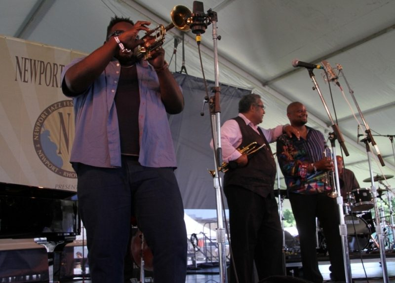 Triumph of Trumpets teamed Jon Faddis, Sean Jones and 2014 Monk Competition winner Marquis Hill (soloing) at the 2015 Newport Jazz Festival