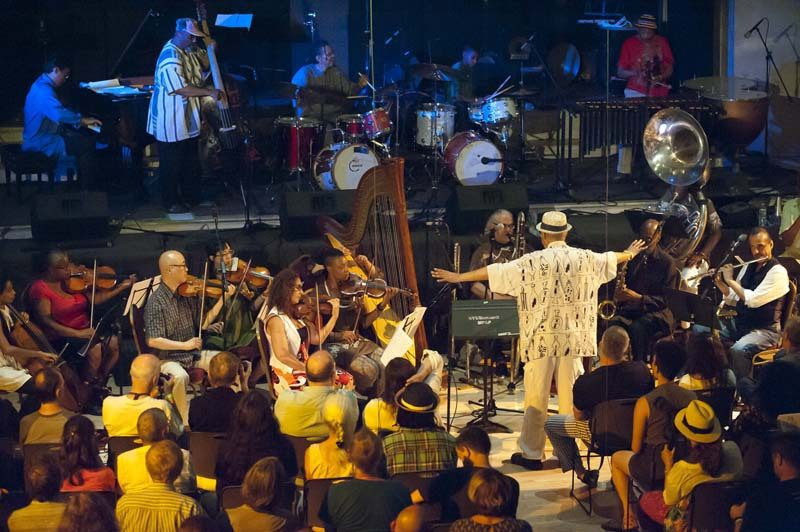 Hamiet Bluiett conducts his Telepathic Orchestra  at New York's Judson Memorial Church, Vision Festival, NYC, July 2015
