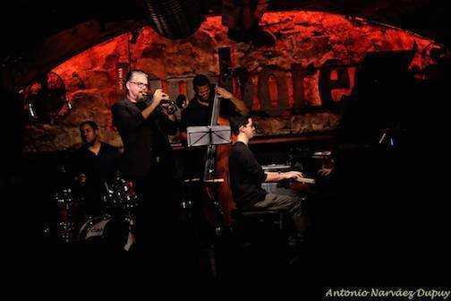 Justin Kauflin Trio, Barcelona, October 2015: Kauflin on piano, Chris Smith on bass, Billy Williams on drums. David Pastor guests on trumpet
