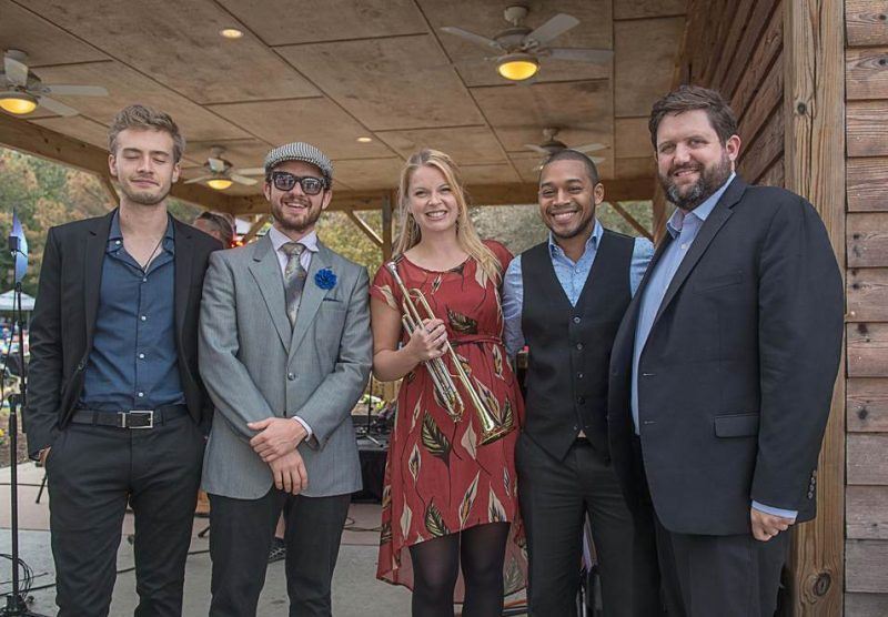 Bria Skonberg Quintet, Duck Jazz Festival 2015. l. to r.:Evan Arntzen, Sean Cronin, Skonberg, Darrian Douglas and Dalton Ridenhour
