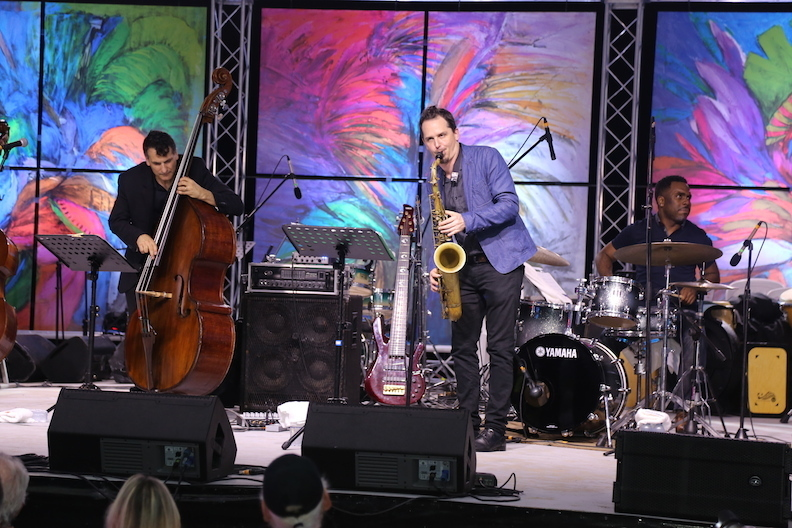 John Patitucci with tenor saxophonist John Ellis and drummer Nate Smith, Dominican Republic Jazz Festival Nov. 2015