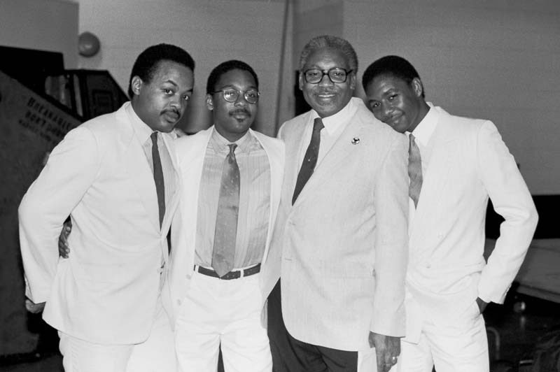 "Jeff ""Tain"" Watts (left), with Wynton, Ellis and Branford Marsalis (from left), in 1984"
