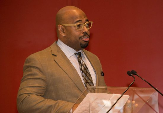 Christian McBride gives the keynote speech at the Jazz Connect Conference, NYC Jan. 2015 image 2