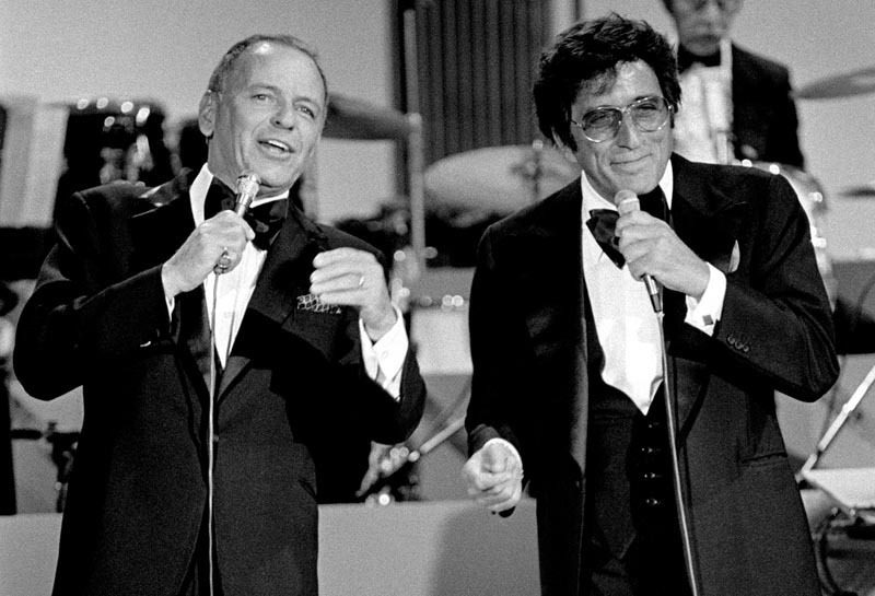 "Frank Sinatra and Tony Bennett on the 1977 ABC TV special ""Sinatra and Friends"""