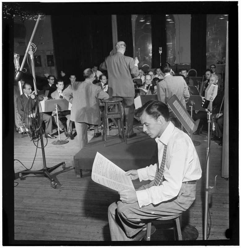 Frank Sinatra, recording for Columbia Records in 1947 in NYC