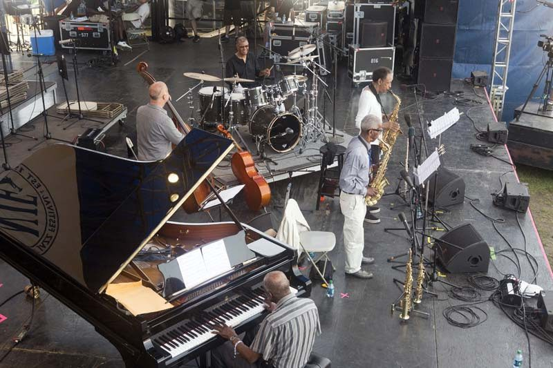 Made in Chicago at Newport Jazz Festival, Aug. 2015. Clockwise from drums: Jack DeJohnette, Henry Threadgill, Roscoe Mitchell, Muhal Richard Abrams and Larry Gray