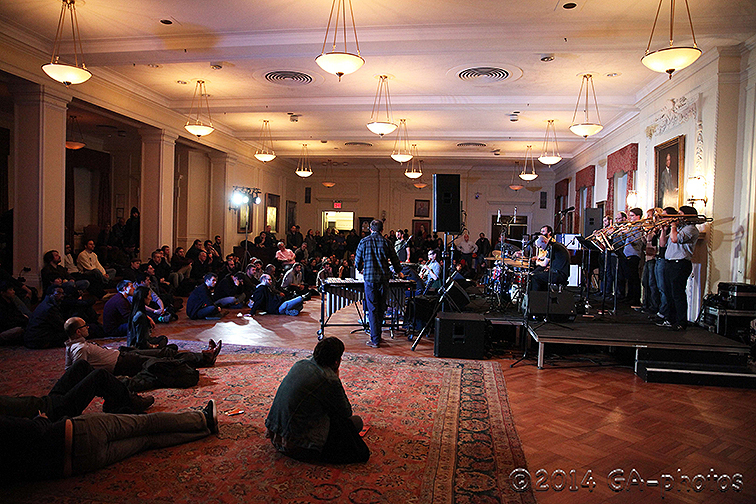 Nate Wooley's Seven Storey Mountain performs at NYU Law, NYC Winter Jazzfest 2014 (photo: Greg Aiello)