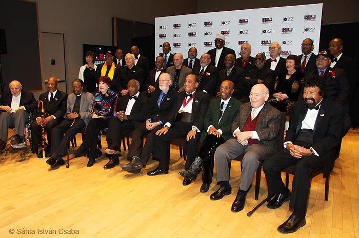 Participants in the 2013 NEA Jazz Masters ceremony, NYC. David Baker is in the front row at far right.
