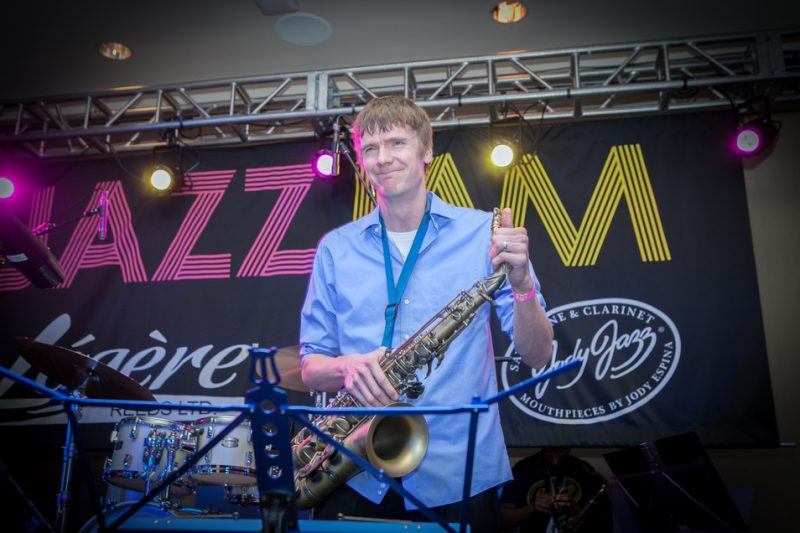 Derek Brown at the JodyJazz/BG/Légère Jazz Jam, NAMM 2016