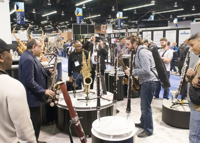 Saxophonists Ernie Watts (left) and Spenser Liszt jam at the Buffet Crampon booth, NAMM 2016