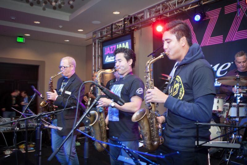 Jody Espina, Jeff Kashiwa and Austin Gatus (from left) at the JodyJazz/BG/Légère Jazz Jam, NAMM 2016