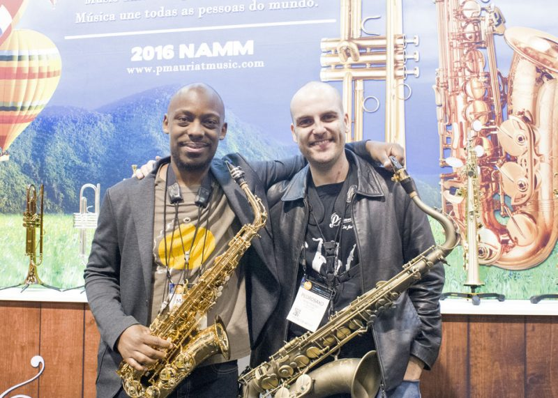 Marcus Strickland and Pedrosaxo (from left) at the P.Mauriat booth, NAMM 2016