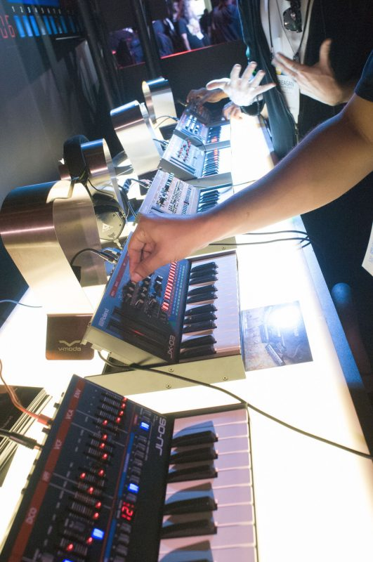 Roland Boutique Series mini-synths, on display at NAMM 2016