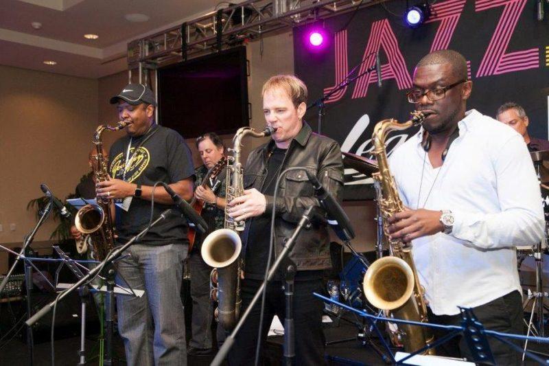 Sal Crocker, Darren Rahn and Marqueal Jordan (from left) at the JodyJazz/BG/Légère Jazz Jam, NAMM 2016