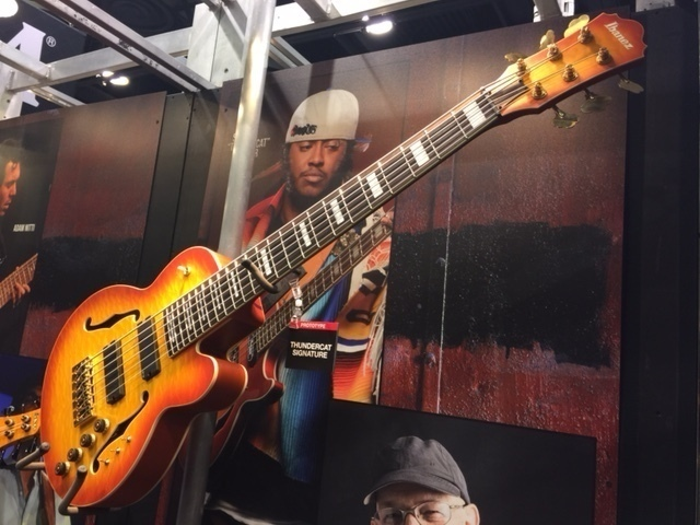 A prototype for a Thundercat signature bass by Ibanez, on display at NAMM 2016