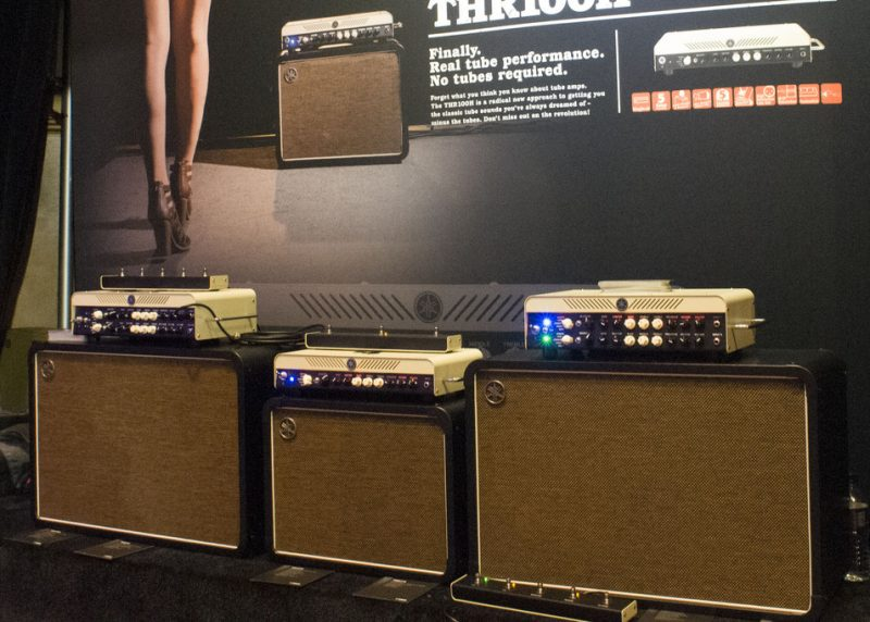 Yamaha THR100H and THR100HD amps and cabinets, on display at NAMM 2016