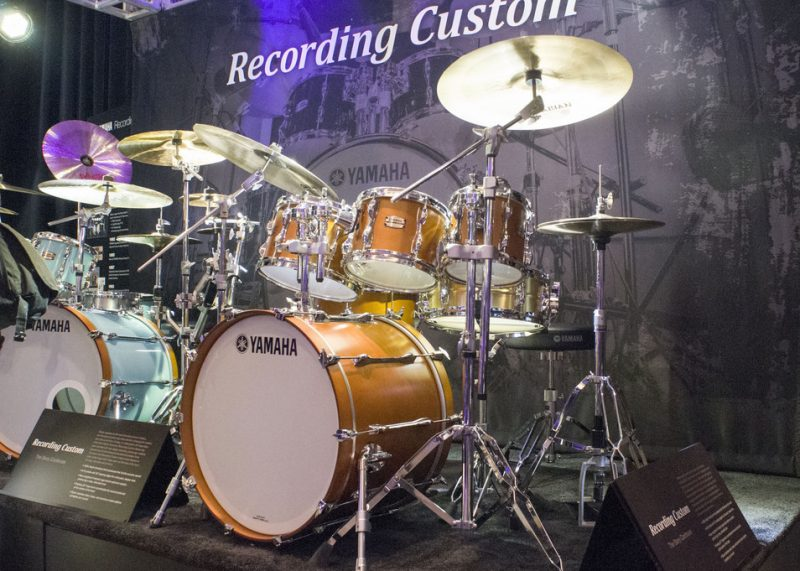 The Steve Gadd-redesigned Recording Custom series of Yamaha drums, on display at NAMM 2016