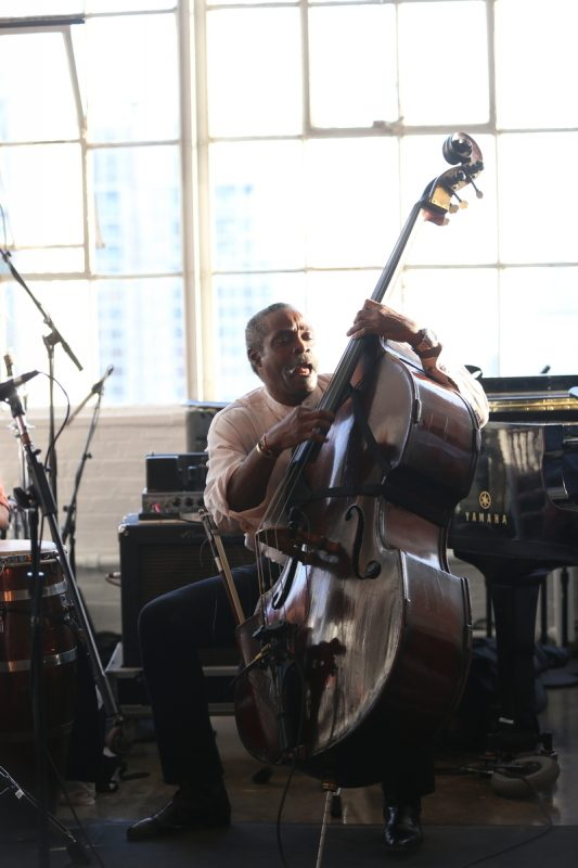Alex Blake, performing with Randy Weston, at the 2016 Jazz Foundation of America Loft Party in New York