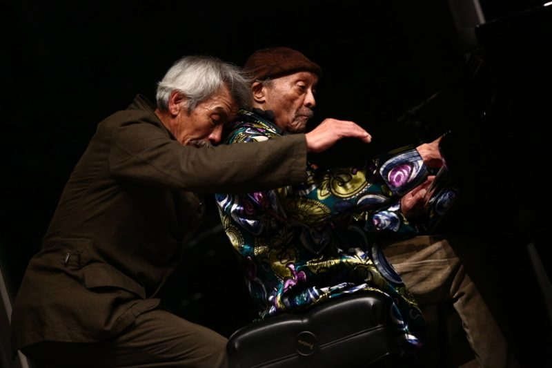 "Min Tanaka (l.) and Cecil Taylor, performance at the Whitney Museum of American Art, April 14, 2016, as part of ""Open Plan: Cecil Taylor,"" April 15–24, 2016"
