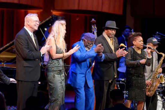 2016 NEA Jazz Masters Gary Burton, Wendy Oxenhorn, Pharoah Sanders and Archie Shepp (from left), with Catherine Russell and saxophonist Jimmy Heath, at the Kennedy Center in April  image 0