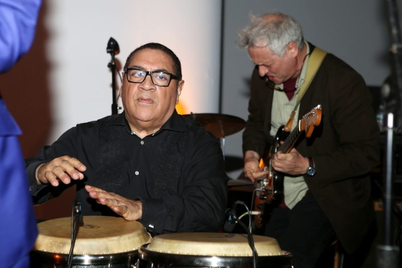 Sammy Figueroa (left) and Marc Ribot pay tribute to David Bowie at the 2016 Jazz Foundation of America Loft Party in New York