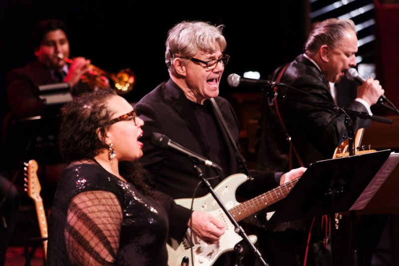 "Mike Rodriguez, Brianna Thomas, Steve Miller and Jimmie Vaughan (from left) perform in Miller's ""Out of This World"" program at Jazz at Lincoln Center, April 2016"
