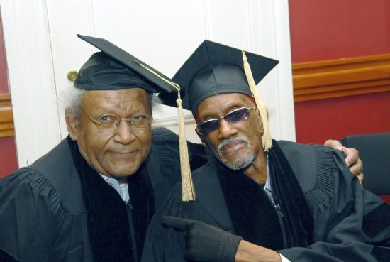 Anthony Braxton (left) and Bernie Worrell receive honorary Doctor of Music degrees from New England Conservatory; May 22, 2016 image 0