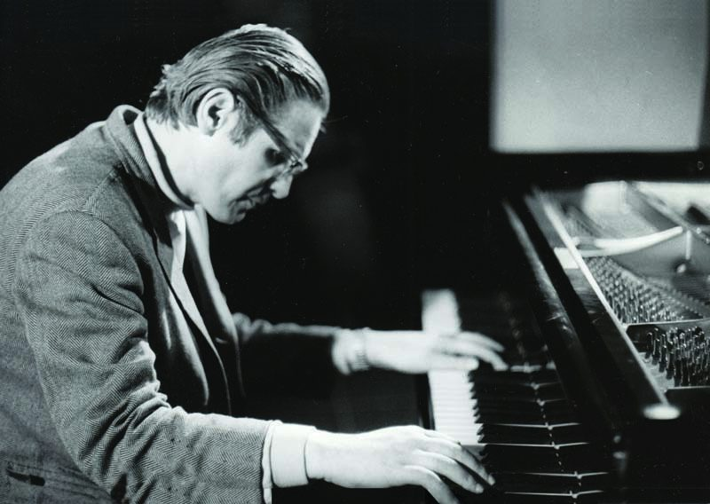 Bill Evans records at the MPS label's studio in Germany's Black Forest, 1968