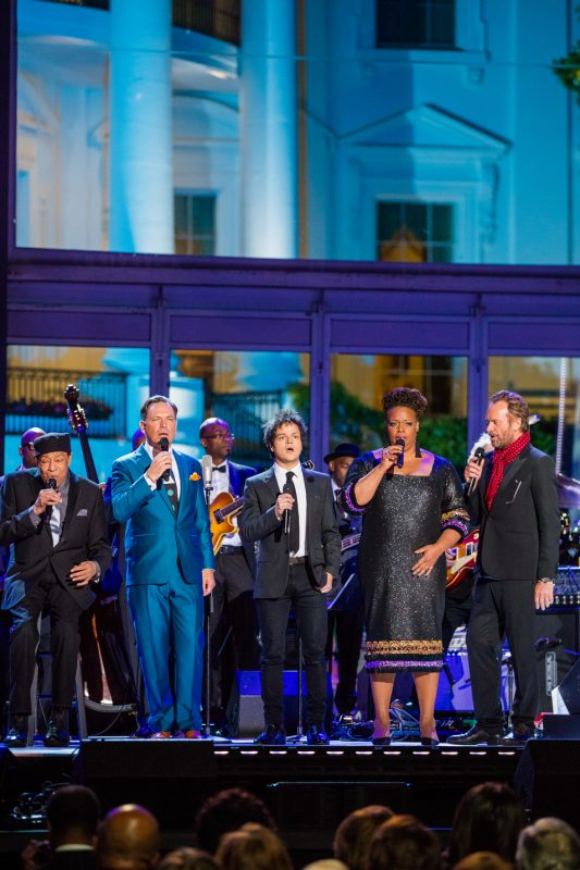 "Al Jarreau, Kurt Elling, Jamie Cullum, Dianne Reeves and Sting (from left) sing John Lennon's ""Imagine,"" to close the International Jazz Day Global Concert at the White House; April 29, 2016"