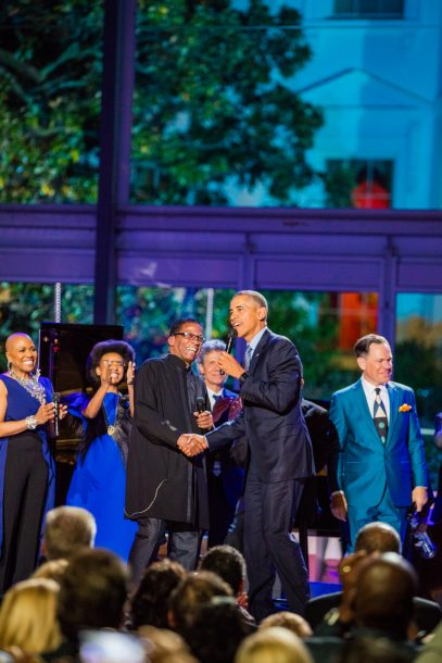 Photo of President Obama with UNESCO ambassador Herbie Hancock and other performers at International Jazz Day