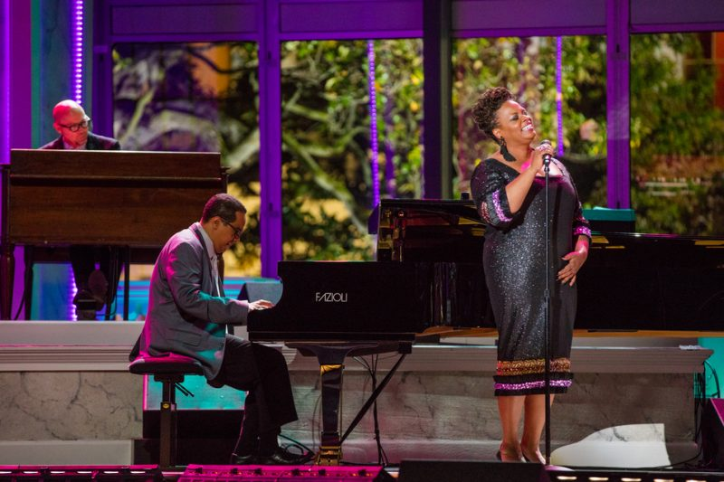Dianne Reeves, Danilo Pérez and (at back) John Beasley perform in the International Jazz Day Global Concert at the White House; April 29, 2016