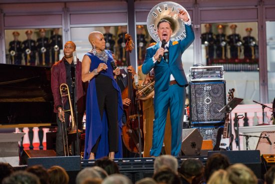 Dee Dee Bridgewater and Kurt Elling (with Trombone Shorty at back) perform in the International Jazz Day Global Concert at the White House; April 29, 2016 image 13