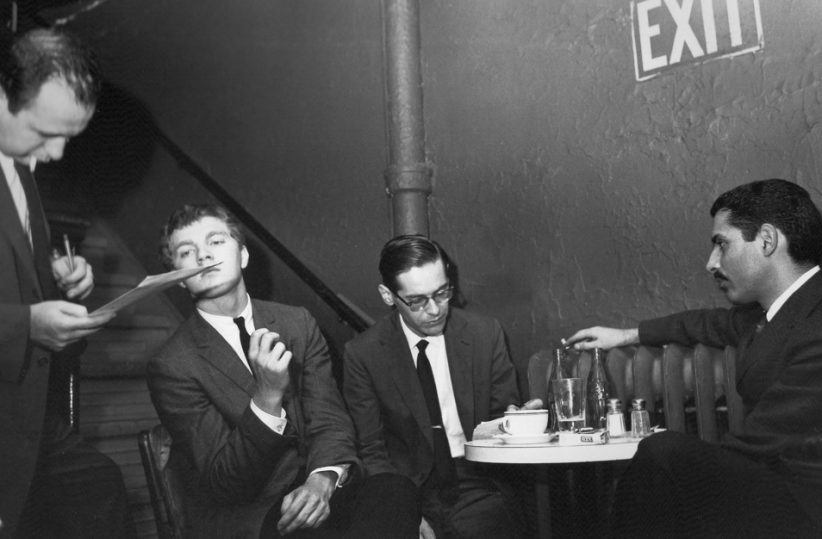 Producer Orrin Keepnews, Scott LaFaro, Bill Evans and Paul Motian (from left) make jazz history at the Village Vanguard in 1961 (photo: Steve Schapiro)