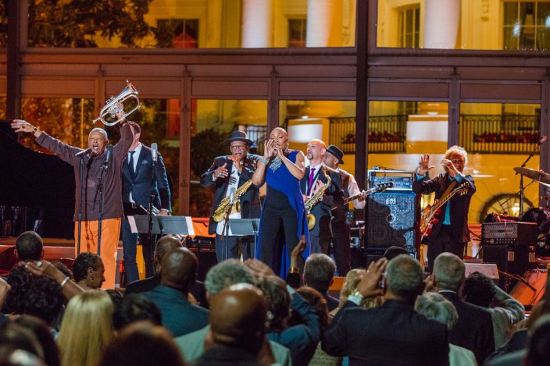 Hugh Masekela (far left) and an all-star band perform in the International Jazz Day Global Concert at the White House; April 29, 2016
