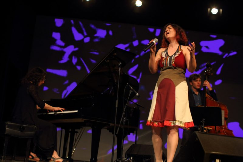 Marianne Trudel, Sonia Johnson and Rémi-Jean Leblanc (from left) perform at the University of Montreal's Centre d'essai on International Jazz Day 2016