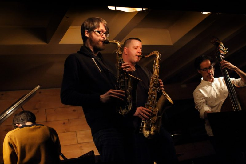 Tenor saxophonist Al McLean performs with his quintet at Montreal's Dièse Onze club on International Jazz Day 2016. From left: Marie-Fatima Rudolf, Erik Hove, McLean and Adrian Vedady