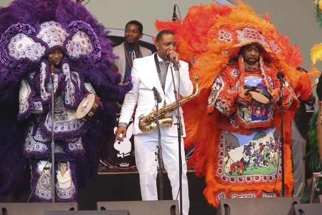 Alto saxophonist Donald Harrison Jr. with representatives from the Congo Square Nation tribe