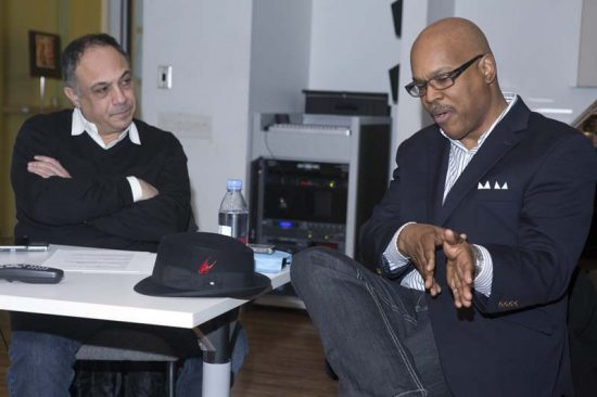 Osby (right) and writer Ashley Kahn at New York University in March image 0