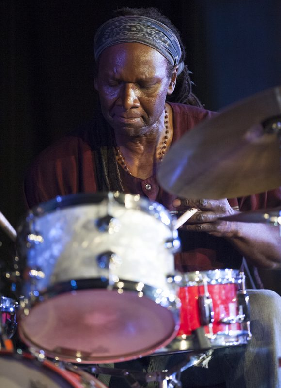 Hamid Drake performs at Vision Festival 21; New York's Judson Memorial Church, June 9, 2016