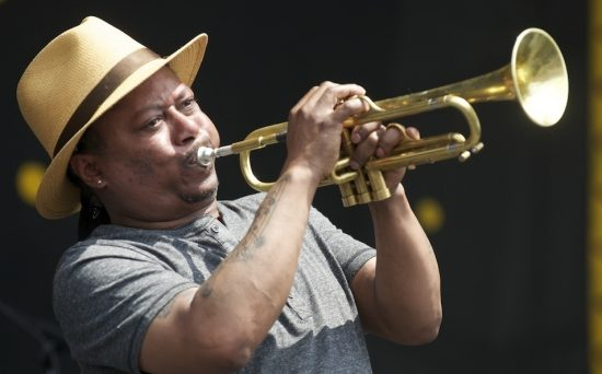 Kermit Ruffins onstage at the 2014 New Orleans Jazz & Heritage Festival image 3