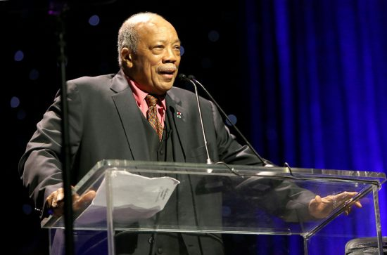 Herbie Hancock Humanitarian Award recipient Quincy Jones speaks during the Thelonious Monk Institute International Jazz Vocals Competition in Hollywood, California, 11-15 image 0