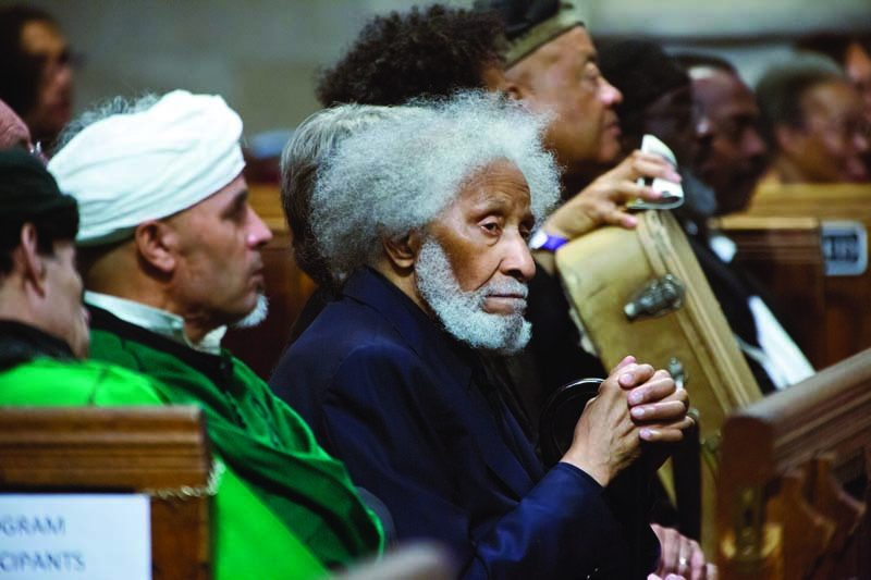 Sonny Rollins attends Ornette Coleman's funeral in New York, June 2015
