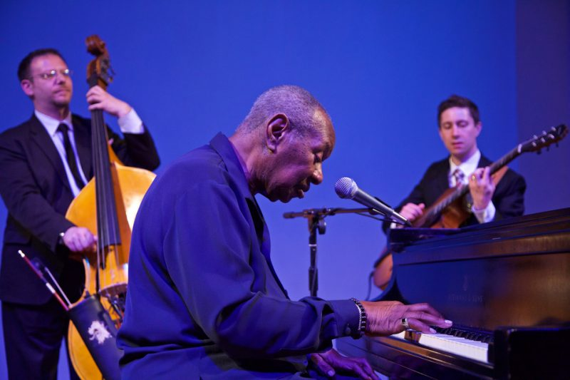 Freddy Cole, with guitarist Randy Napoleon and bassist Elias Bailey, live at the 2016 Spoleto Festival USA