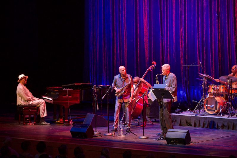 Randy Weston, T.K. Blue, Alex Blake, Billy Harper and Lewis Nash (from left) live at the 2016 Spoleto Festival USA