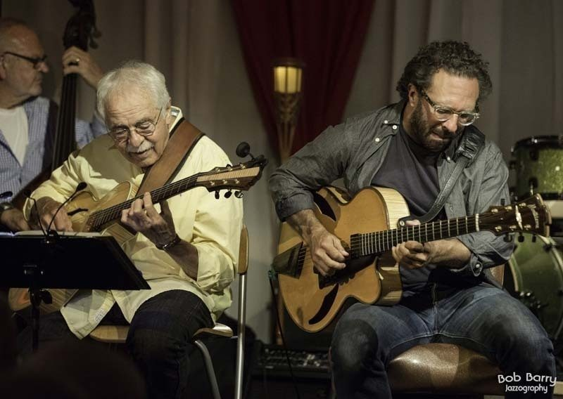 John Pisano (left) and guest Anthony Wilson at Pisano's Guitar Night in 2013