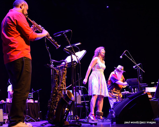 Saxophonist Jota P. and vocalist Aline Morena perform with Hermeto Pascoal at his 80th birthday concert in London