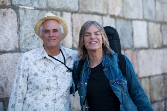 JT publisher Lee Mergner and Mike Stern at the 2015 Newport Jazz Festival image 0