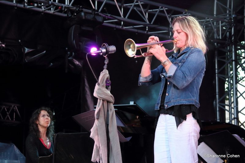 Marianne Trudel (left) and Ingrid Jensen perform at the 2016 Montreal International Jazz Festival